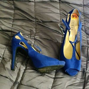 9.5 Guess blue suede-like, t-strap heels, NWT